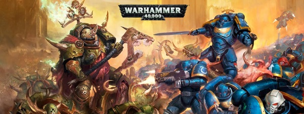 40K image of a Space Marine squad versus a Chaos Space Marine squad