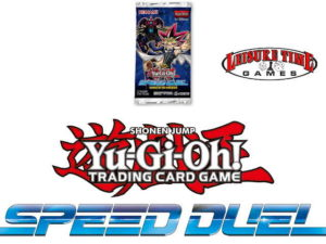 Image of a Trials Of The Kingdom booster pack, yugioh logo and the speed duel logo