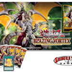 Blazing Vortex Prerelease playmat, promo cards, and leisure time games logo