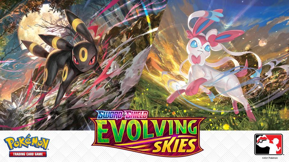 Pokemon Sword And Shield Evolving Skies Prerelease Logo And Images Of Two Pokemon